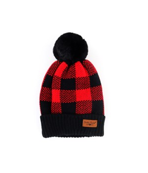 Black & Red Buffalo Plad Pom Hats