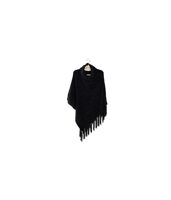 Black Beyond Soft Chenille Poncho 3PC