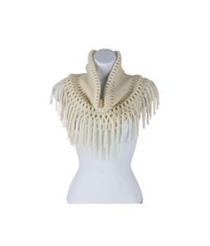 Ivory Open-Weave Inf w/Fringe 3PC
