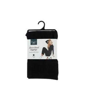 L/XL Black Fleece-lined Leggings 6PC