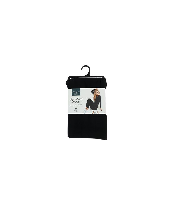 M/L Black Fleece-lined Leggings 6PC