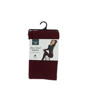 S/M Burgundy Fleece-lined Leggings 6PC