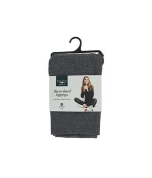 M/L Gray Fleece-lined Leggings 6PC