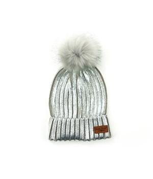 Silver Britt's Glacier Knit Pom Hat 6PC