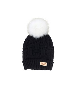 Black Plush Lined Knit Hat w/Pom 2PC