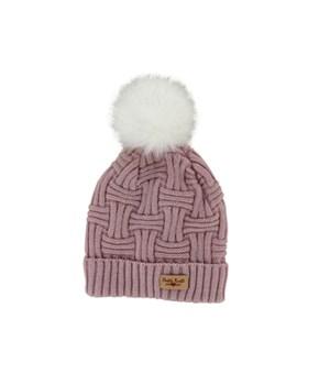 Blush Plush Lined Knit Hat w/Pom 2PC