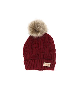 Burgundy Plush Lined Knit Hat w/Pom 2PC