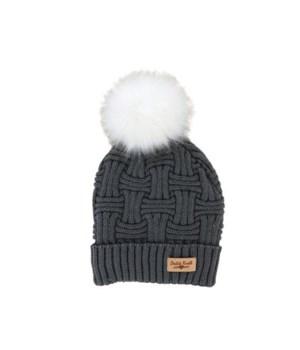 Gray Plush Lined Knit Hat w/Pom 2PC