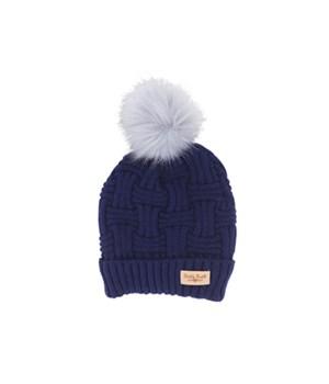 Navy Plush Lined Knit Hat w/Pom 2PC
