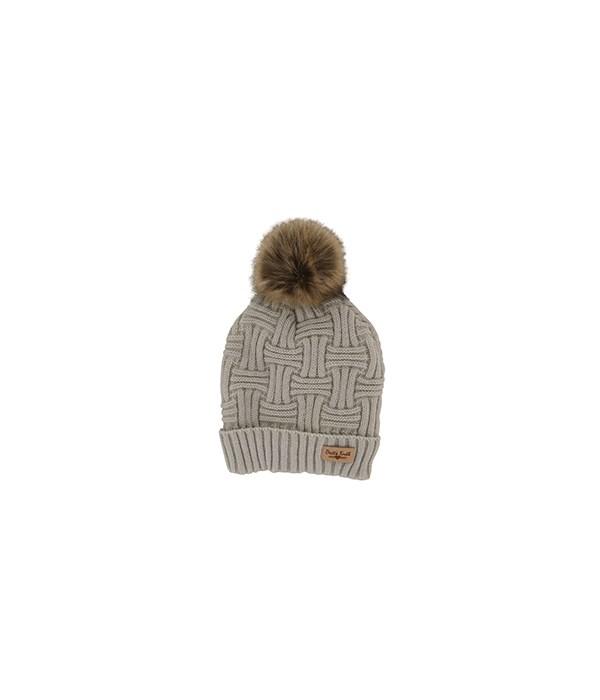 Beige Plush Lined Knit Hat w/Pom 2PC