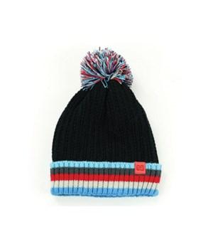 Kid's Black Plush-Lined Pom Hat 4PC