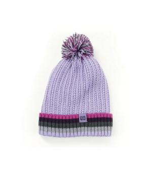 Kid's Lavender Plush-Lined Pom Hat 4PC