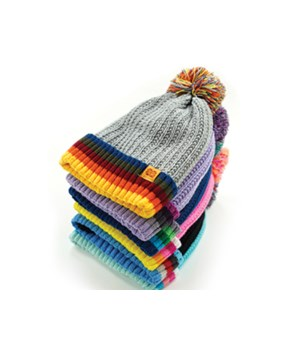 Kid's Plush-Lined Pom Hat 24PC