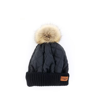 Black Quilted Puffer Hat 6PC