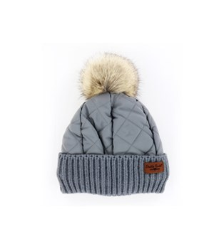 Gray Quilted Puffer Hat 6PC