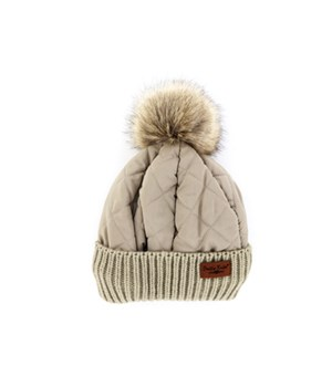 Oatmeal Quilted Puffer Hat 6PC