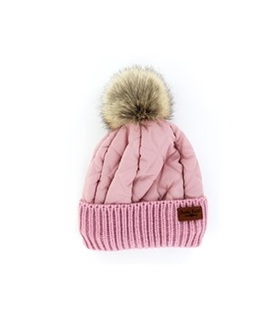 Pink Quilted Puffer Hat 6PC