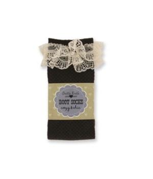 Brn Checkered Socks w/Lace - 4PC Unit