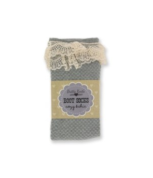 Gray Checkered Socks w/Lace - 4PC Unit