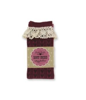 Burgundy Heart Socks w/Lace - 4PC Unit