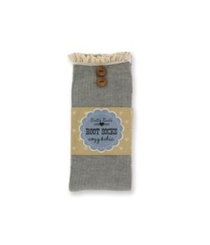 Gray Ribbed Socks w/Lace Edge - 4PC Unit