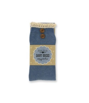 Lt Blue Rib Socks w/Lace Edge - 4PC Unit