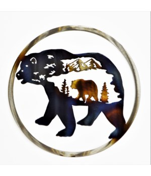 "BEAR INSIDE BEAR 9"" Round Art"