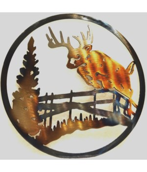 "DEER JUMPING FENCE 9"" Round Art"