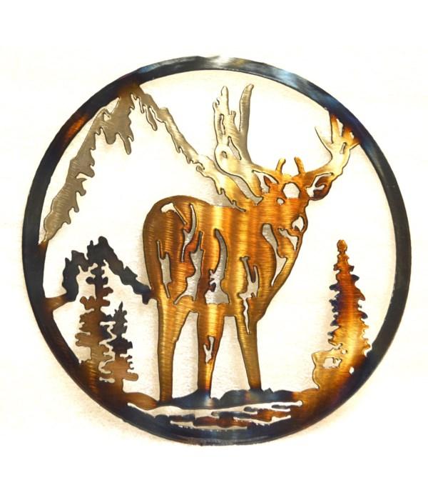 "Deer w/ Mountains 9"" Round Art"