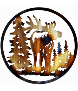 "ELK FACING FORWARD 9"" Round Art"