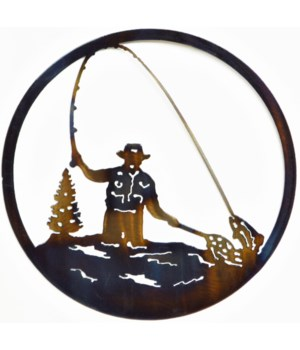 "FLY FISHERMAN 9"" Round Art"