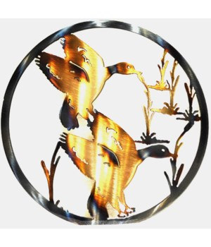"DUCKS IN WETLAND 9"" Round Art"