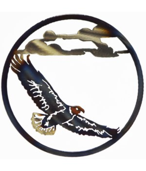 "EAGLE FLYING 9"" Round Art"
