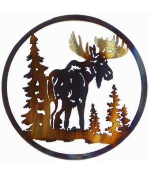 "MOOSE WITH TREES 9"" Round Art"