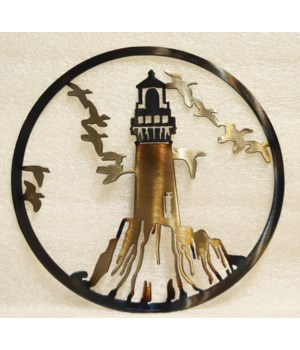 "Light House with out Beam 9"" Round Art"