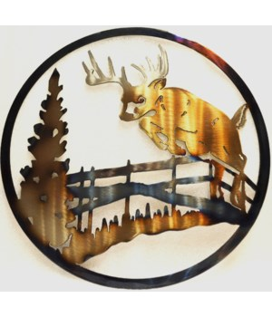 "DEER JUMPING FENCE 12"" Round Art"