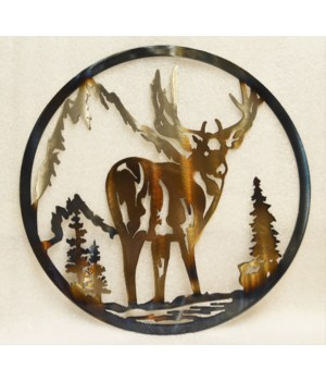 "DEER WITH ROCKS 12"" Round Art"
