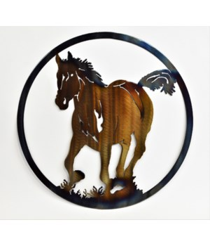"HORSE AND COLT 12"" Round Art"