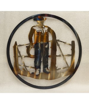 "COWBOY AT FENCE 12"" Round Art"