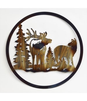 "BULL ELK AND COW 12"" Round Art"