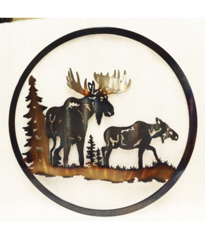 "BULL AND COW MOOSE 12"" Round Art"