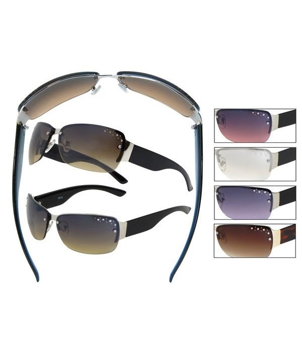 Rimless Rhinestone Sunglasses -W