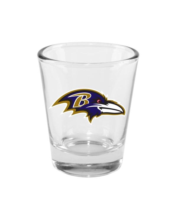 CLEAR SHOT GLASS - BALT RAVENS