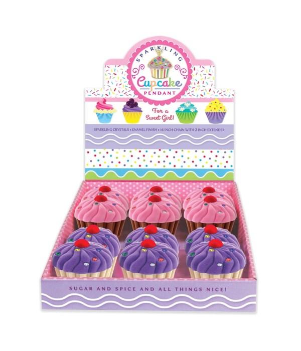 Sparkling Cupcake Pendant 12PC