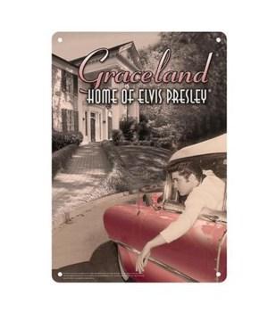 ELVIS TIN SIGN - CAR/GRACELAND #2