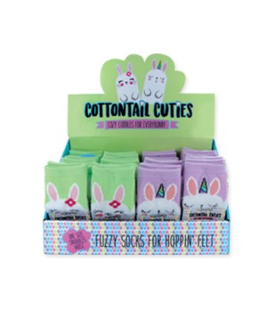 Easter Fuzzy Bunny Socks 24PC