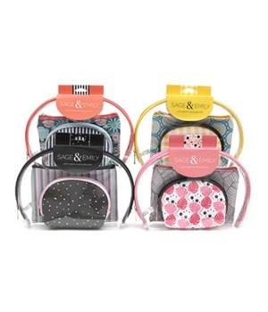 3 Piece Cosmetics Case Set - 12PC Unit