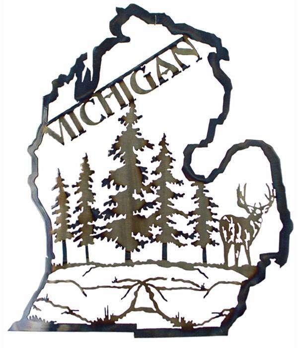 """Michigan Mitten 18"""" Wall Art w/Deer"""