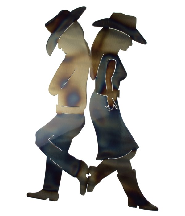 """Cowboy Couple 18"""" Wall Art"""