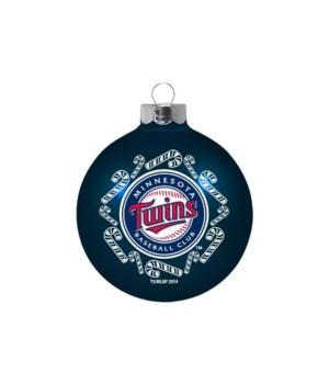 MN Twins Glass Ornament